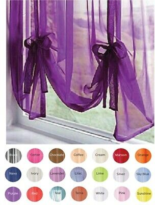 """1 x Voile Tie Blinds 23 Colours 59""""  or 87"""" Wide FREE 1st Class Post"""