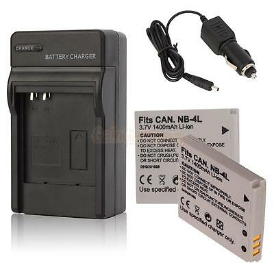 2 NB-4L Battery +charger for Canon PowerShot ELPH 100 300 HS IXUS 115 220