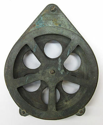 "Kolstrand Seattle Wash 6"" Bronze Pulley Block For Fishing Tackle"