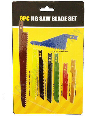 8 Piece assorted Sabre Jig Scroll Saw Blades Set for Metal/Wood/Plastic