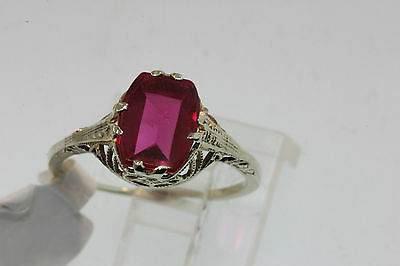 ANTIQUE VICTORIAN LATE 1800 14k WHITE GOLD FILIGREE MOUNT RING  FAB RED STONE