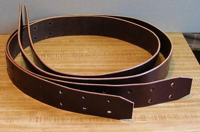 "Amish-made Genuine USA Leather WESTERN STIRRUP STRAPS 2 1/2"" wide BROWN"