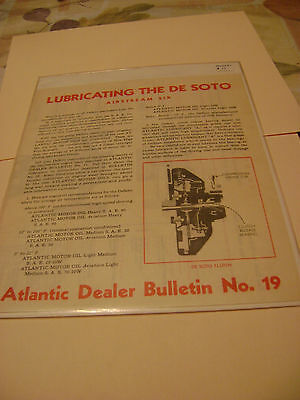 Vintage Lubricating the DeSoto Air Stream Six Atlantic Dealer Bulletin no.19