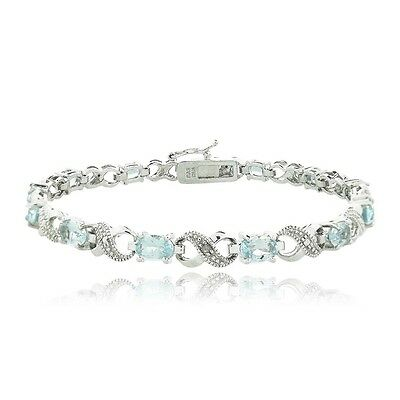 6.6ct TGW Blue Topaz & Diamond Accent Infinity Bracelet in Brass