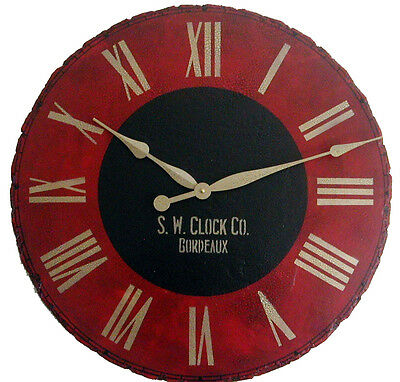 "Large Wall Clock 24"" Antique Red Black Vintage Bordeaux"