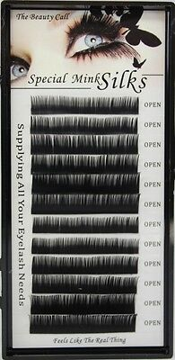 Ultra Soft MINK SILK Lash B Curl .20mm Size 8-15mm Available Eyelash Extensions