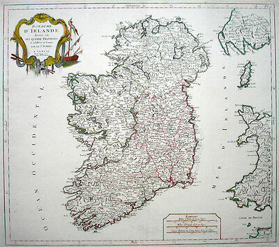 1778 IRELAND * SANTINI Publ. in Venice DECORATIVE & NICE DETAIL 48 x 54.5cm