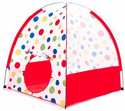 Pop Up Polka Dot Childrens Teepee Fun Play Tent House for Kids w/ Safety Mesh