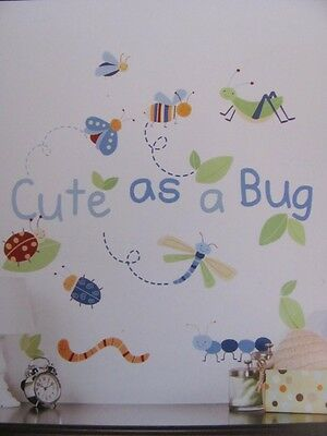 CUTE AS A BUG Blue Green Insects BABY BOYS Nursery WALL STICKERS DECALS MURAL