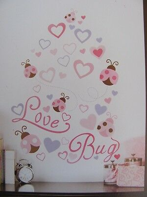 LOVE BUG Pink Brown LADY BUG HEART Baby Girls Nursery WALL STICKERS DECALS MURAL