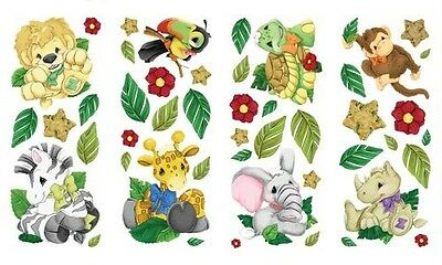 ZOOTLES Safari Zoo JUNGLE ANIMALS Theme Baby Nursery Decor WALL STICKER DECALS
