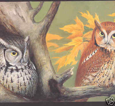 SCREECH OWLS IN AUTUMN,LIMITED EDITION BIRD POSTCARD,ROGER TORY PETERSON