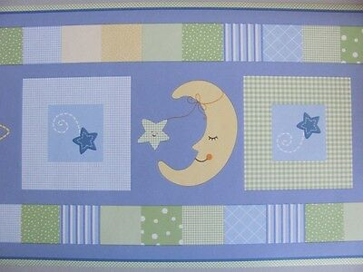 Lambs & Ivy GOODNIGHT STAR Yellow Moon Green Blue BABY NURSERY WALL PAPER BORDER