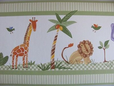 SAVANNAH Jungle Wild Animal Safari Theme Green BABY NURSERY WALL PAPER BORDER