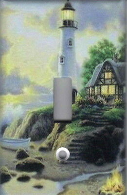 LIGHTHOUSE NAUTICAL HOME WALL DECOR DOUBLE LIGHT SWITCH PLATE LIGHTHOUSE STORM