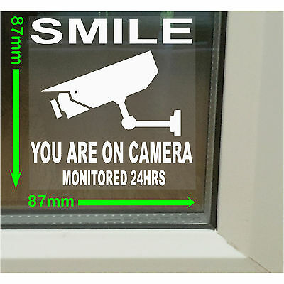 Smile CCTV Camera Monitored Warning Security Stickers-Home/Business Alarm Signs