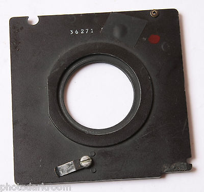 """3.25"""" Square Lens Board Insert with 34mm Unthreaded Opening for 4x5 USED L20 D78"""