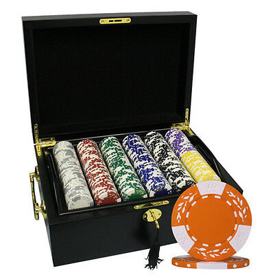 500 12G CLAY WHEAT POKER CHIPS SET MAHOGANY CASE by MRC