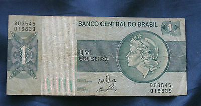 Brazil 1970 - 1980 ND Bank Note 1 Cruzeiro Paper Money Brasil Liberty Head
