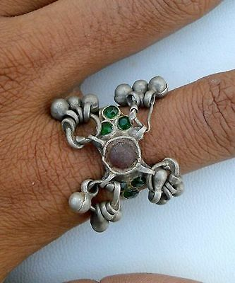 Antique Tribal Old Silver Glass Stones Ring Gypsy