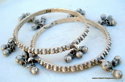 vintage antique collectible tribal old silver bangle bracelet set 2pc