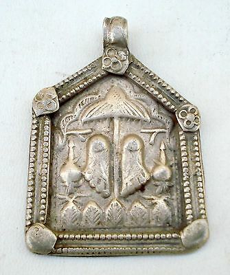 Antique Tribal Old Silver Amulet Pendant Footprint Indi