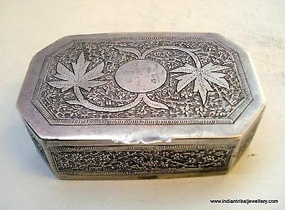 vintage antique collectible old silver box rajasthan india handmade