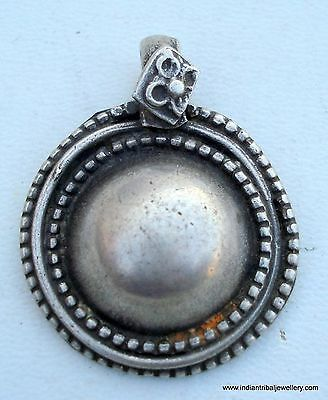 Vintage Antique Tribal Old Silver Disk Pendant India