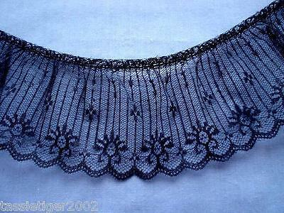 75mm Black Gathered Lace