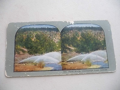 Stereoview Hydraulic Mining Placer Umcompahgre Creek Colorado Gold
