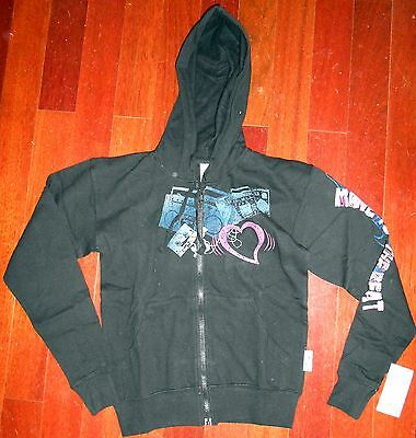 NWT Capezio Screen printed hooded jacket Black Fun Dance Cover up Ladies sizes