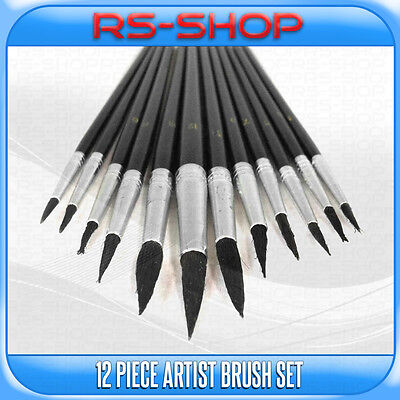 12 Piece Artist paint Brushes Brush Set Tipped Different Size in Black Handle