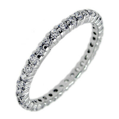 925 Sterling Silver 0.66 Carat CZ Thin Eternity Ring Size 5-10