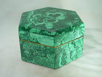 BUTW hand carved Zaire malachite hexagon jewelry box lapidary carving 4391B dl