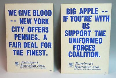 PBA - NY Police Posters  We Give Blood NYC Offers Pennies + Big Apple 1970s