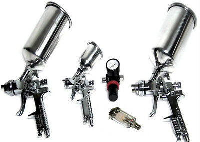 Hvlp Air Spray Paint Gun 0.8 1.4 & 1.7 Mm + Air Regulator + Water Separator 5Pc