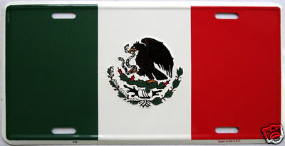 Mexico Flag Embossed Car Aluminum License Plate