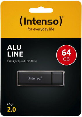 Intenso USB Stick 64GB Speicherstick Alu Line anthrazit