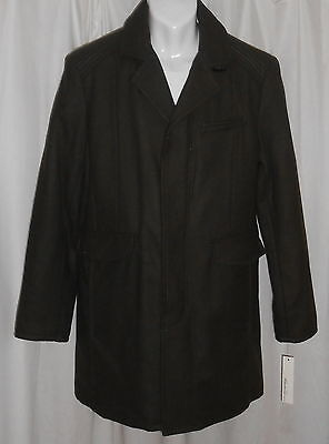 NWT MEN'S KENNETH COLE DARK ARMY GREEN WOOL WINTER COAT JACKET Size: LARGE $250!