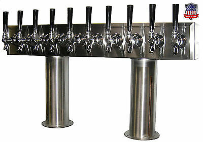 Stainless Steel Draft Beer Tower Made in USA 10 Faucets - AIR COOLED - PTB-10SS