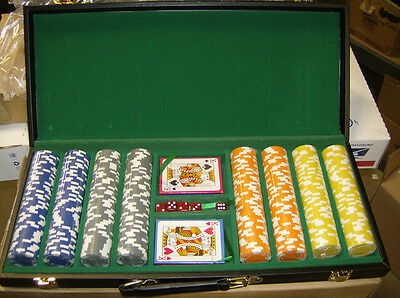 11.5 Gram 400 count Hold'em Design Poker Chip Set w/ vinyl case! Brand New!