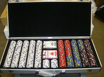 13 Gram 650 count Casino Pro Clay Design Poker Chip Set w/ Aluminum case! New!