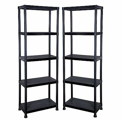 2 x 5 Tier Black Plastic Shelving Shelves Racking Storage Unit in Black