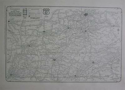 1927 Kentucky & Tennessee Large Commercial Auto Road map* Paved, Improved, etc.