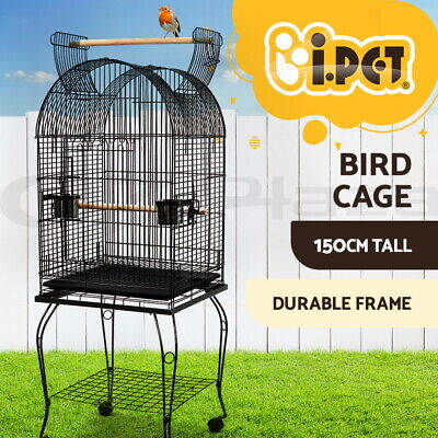Bird Cage Parrot Aviary Pet Stand-alone Budgie Perch Castor Wheels Large 150cm
