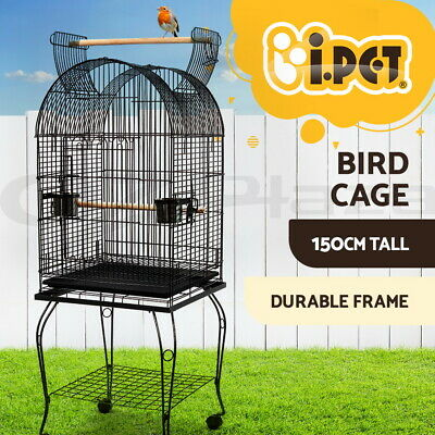 i.Pet Bird Cage Parrot Aviary Pet Stand-alone Budgie Perch Castor Wheels 150cm L