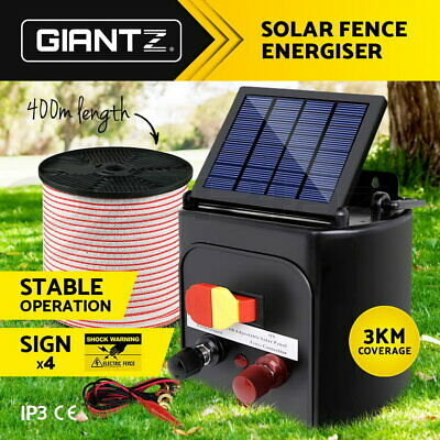 Giantz 0.1J 3km Solar Electric Fence Energiser Energizer Pasture Farm Tape 400M