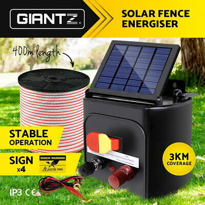 Giantz 3km Solar Electric Fence Energiser Energizer Tape For Goats Cattle Horses