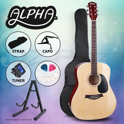 "Alpha 41"" Inch Wooden Acoustic Guitar Classical Folk Full Size w/ Bag Capo Blue"