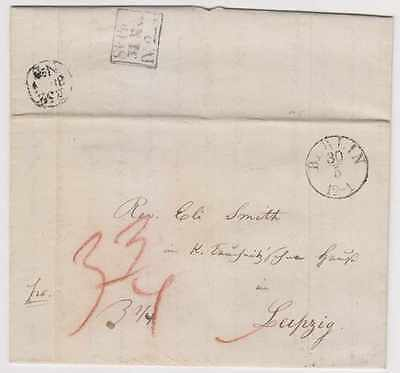 "GERMAN STS PRUSSIA 1839 PRESTAMP ""BERLIN"" Cds TO LEIPZIG VF"